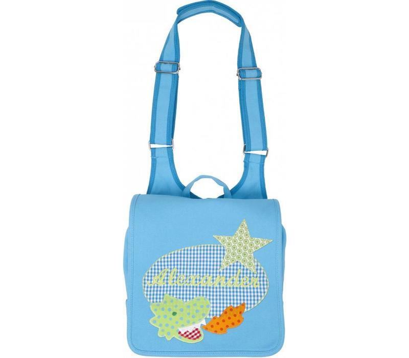Kindergartentasche mit Namen bestickt mit kleinem Drachen