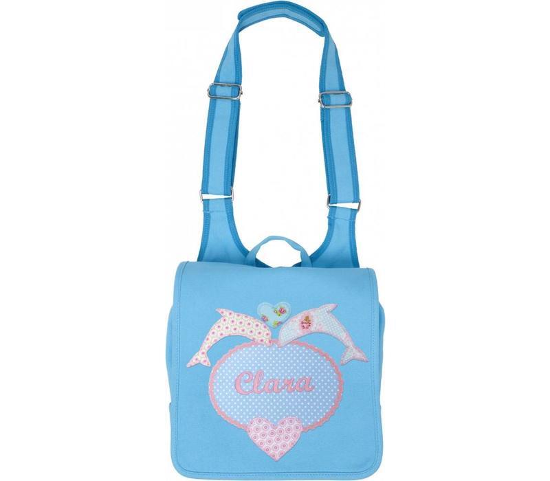 Kindergartentasche mit Namen bestickt mit Delfin
