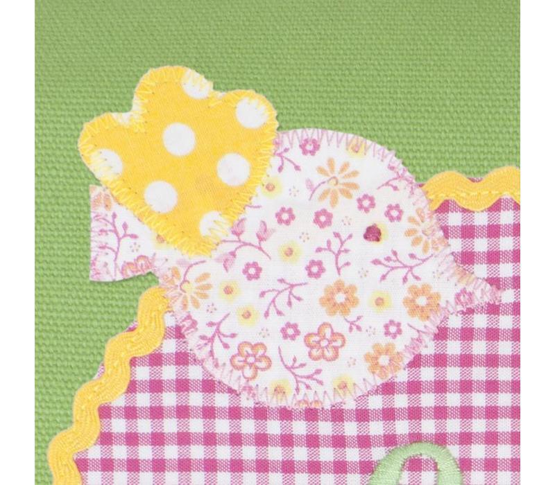 Kindergartentasche mit Namen bestickt Vögelchen und Blumen