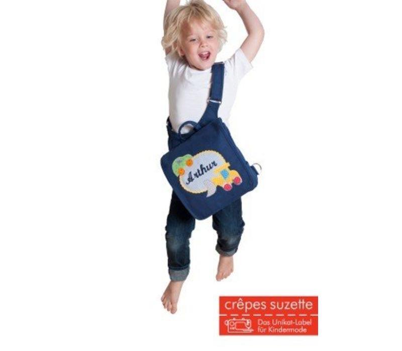 Kindergartentasche mit Namen bestickt mit Boot, wandelbar zum Kinderrucksack