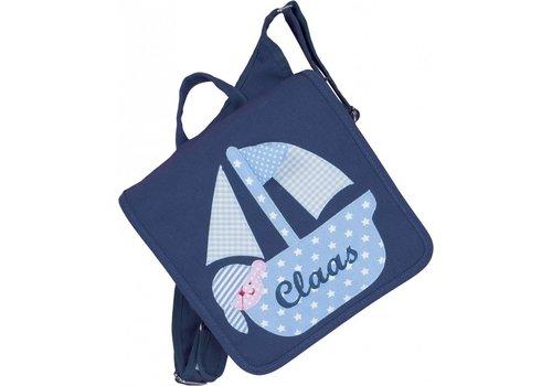 crêpes suzette crêpes suzette Kindergartentasche mit Namen bestickt mit Boot, wandelbar zum Kinderrucksack