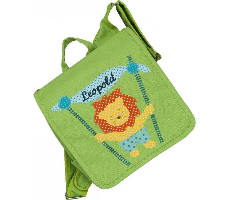 Kindergartentasche / Rucksack in Grün mit Löwen
