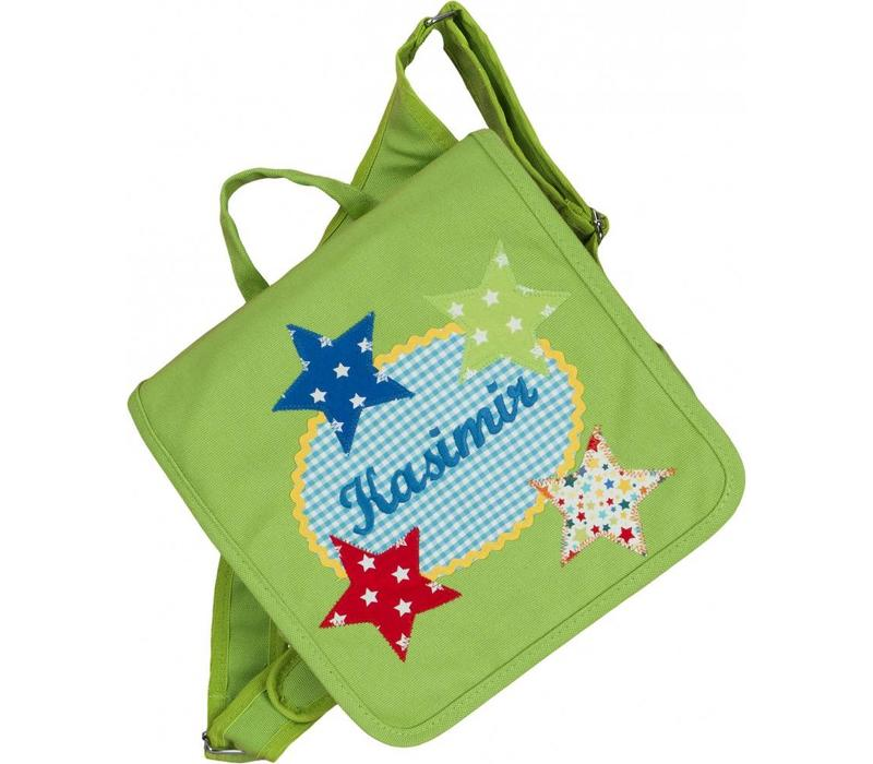 Kindergartentasche / Rucksack mit Namen bestickt. Motiv: Sterne