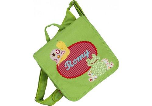 crêpes suzette crêpes suzette Kindergartentasche / Rucksack mit Namen bestickt. Frosch und Schnecke
