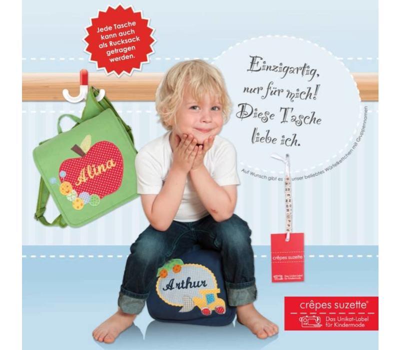 Kindergartentasche / Rucksack mit Namen bestickt. Glückspilz, Fliegenpilz, Pilz