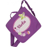 Kindergartentasche wandelbar zum Rucksack mit Namen bestickt. Raupe