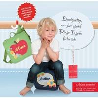 Kindergartentasche mit Namen bestickt und dem Motiv HEXE