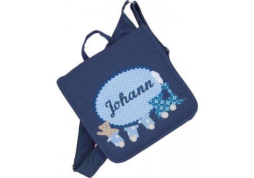 crêpes suzette crêpes suzette Kindergartentasche mit Namen bestickt wandelbar zum Kinderrucksack. LOKOMOTIVE