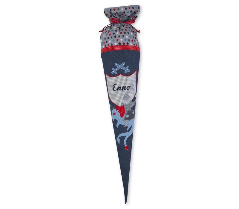 Schultüte aus Stoff, Kämpfer Ritter Drachenkämpfer, Farbe: Jeansblau Grau Rot