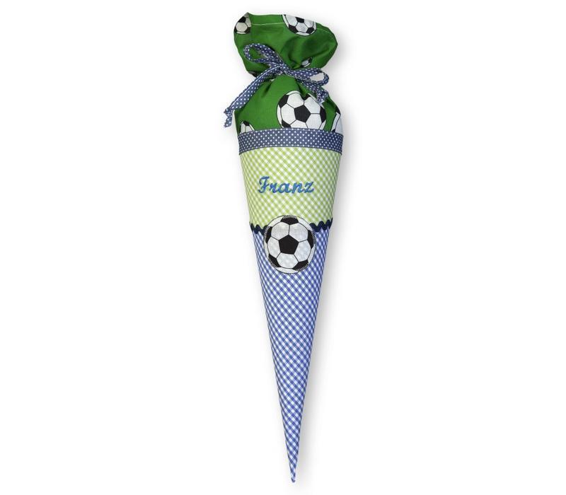 Geschwisterschultüte aus Stoff mit Fussball und Wunschnamen, Farbe Blau Grün
