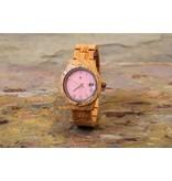 Lumbr Aurora Pink Matt dameshorloge van koa hout