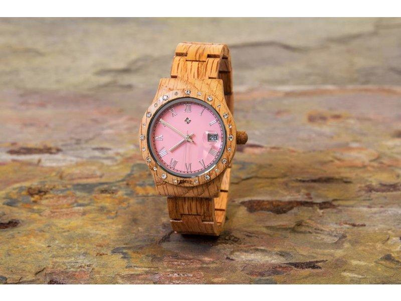 Lumbr Aurora Holz Uhr Pink Matt Koa