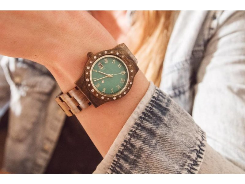Lumbr Aurora Holz Uhr Green Matt Sandel