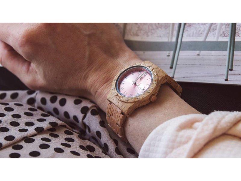 Lumbr Aurora Holz Uhr Pink Shiny Koa