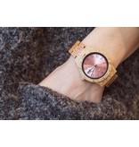 Lumbr Aurora Pink Shiny horloge van koa hout