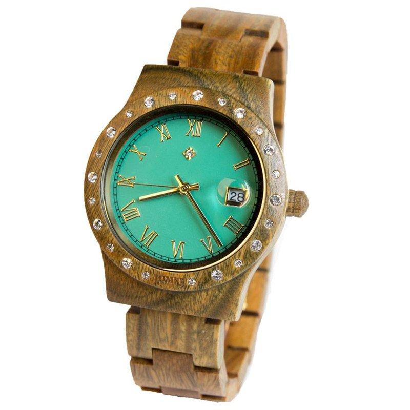 Wooden Watch Aurora Matt Green Sandalwood