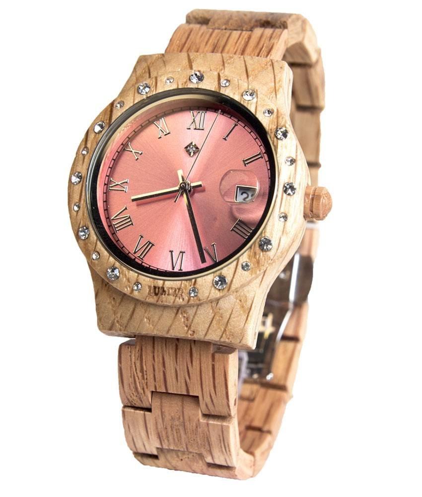 Wooden Watch Aurora Shiny Pink Koa