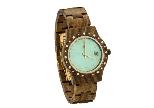 Lumbr Wooden Watch Aurora Shiny Green Sandalwood
