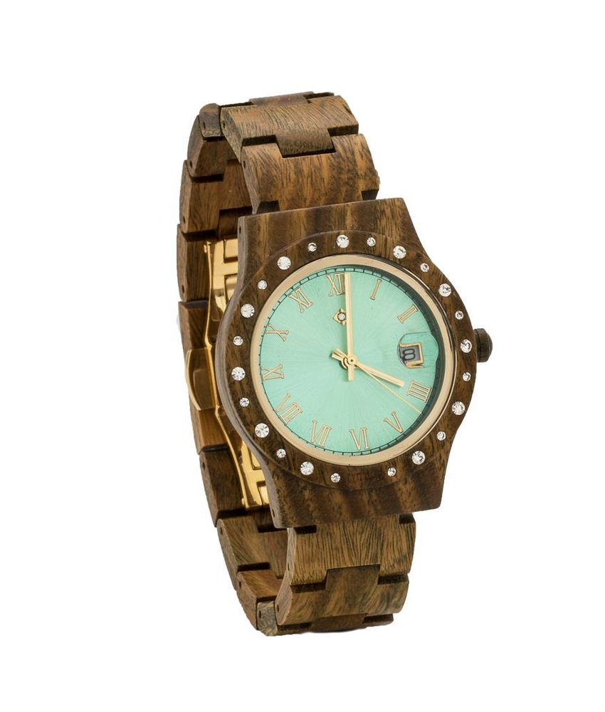 Wooden Watch Aurora Shiny Green Sandalwood