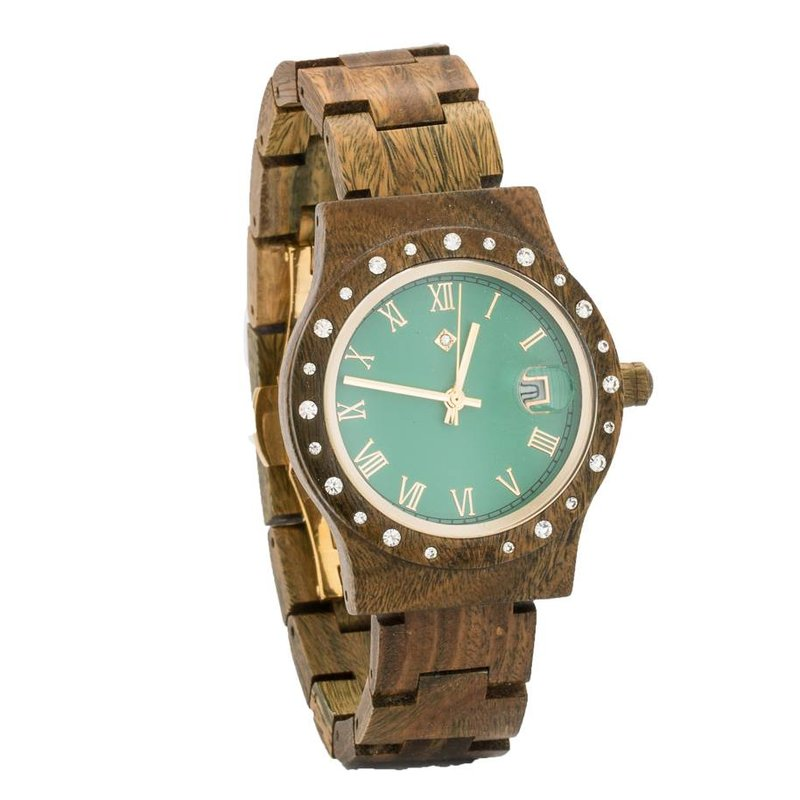Wooden Watch Aurora Matt Green Sandalwood