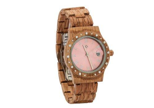 Lumbr Aurora Pink Shiny dameshorloge van koa hout