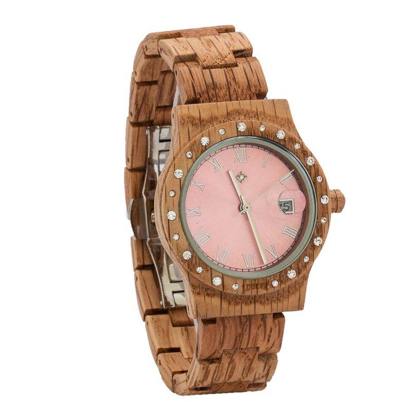 Aurora Pink Shiny dameshorloge van koa hout