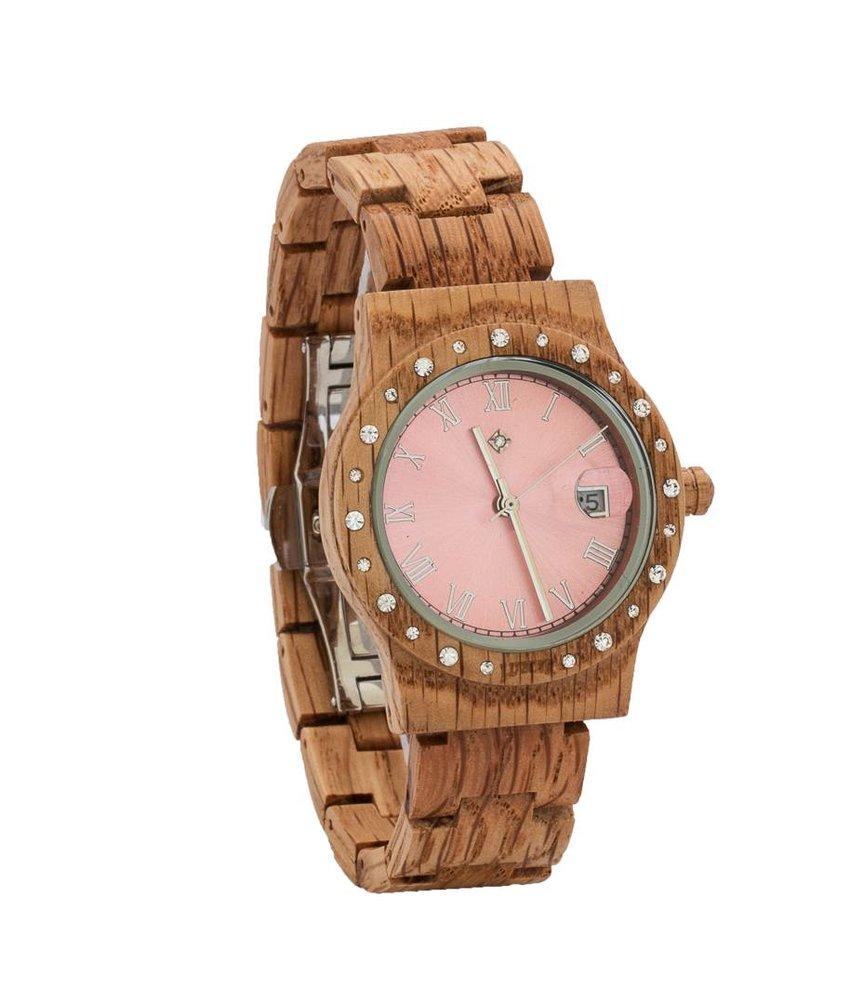 Aurora Pink Shiny horloge van koa hout