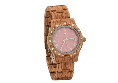 Lumbr Wooden Watch Aurora Matt Pink Koa