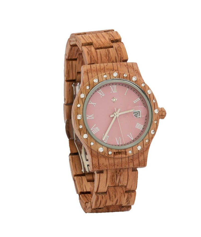 Wooden Watch Aurora Matt Pink Koa