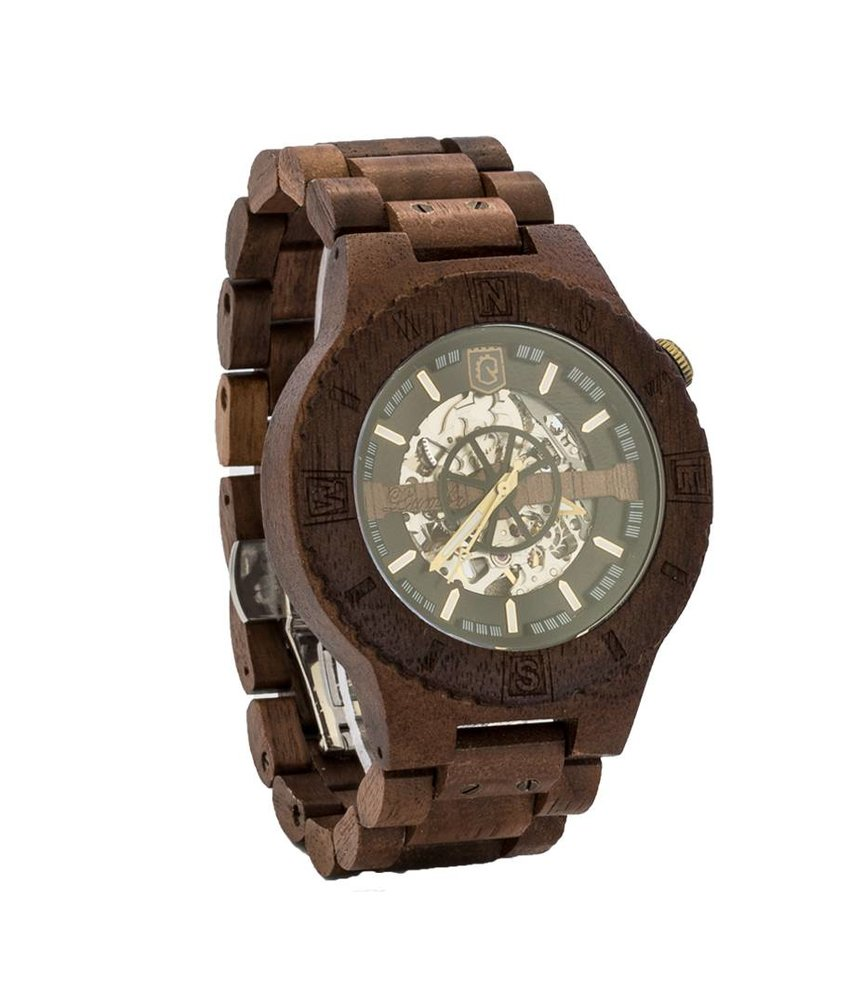 Troy Mechanical wooden watch - Walnut Silver