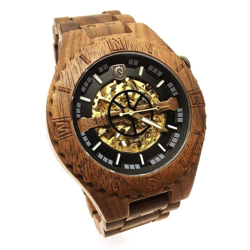 Troy Mechanical wooden watch - Walnut Gold