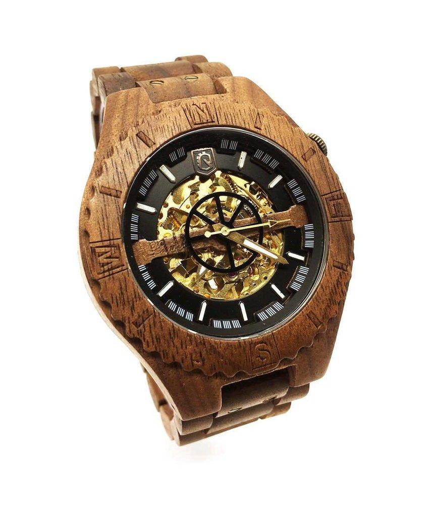 Troy Uhr Mechanisch - Walnuss Gold