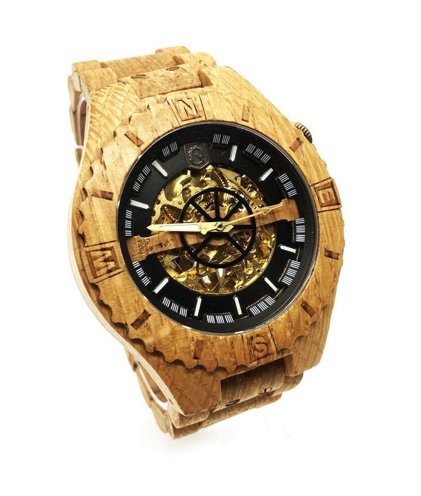 Troy Mechanical wooden watch - Oak Gold