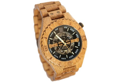 Lumbr Troy Mechanical wooden watch - Oak Silver