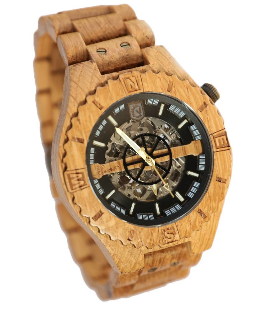 Troy Mechanical wooden watch - Oak Silver