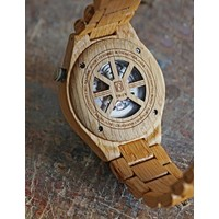 Troy Mechanical wooden watch - Oak wood Silver movement