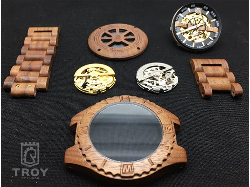 Lumbr Troy Mechanical wooden watch - Walnut wood, Golden movement
