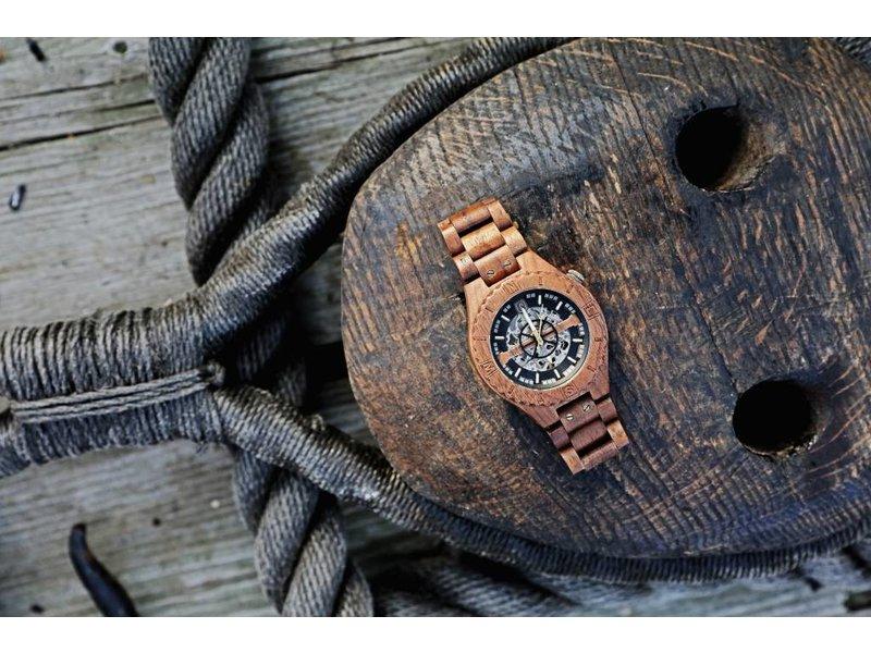 Lumbr Troy Uhr Mechanisch - Walnuss holz, mit Silber