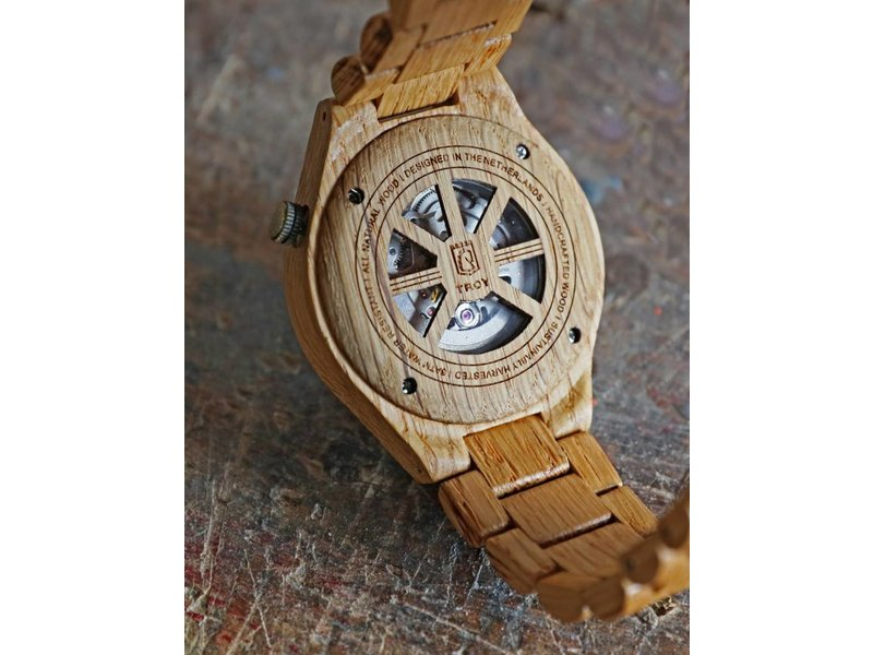 Lumbr Troy Mechanical wooden watch - Oak wood, Golden movement