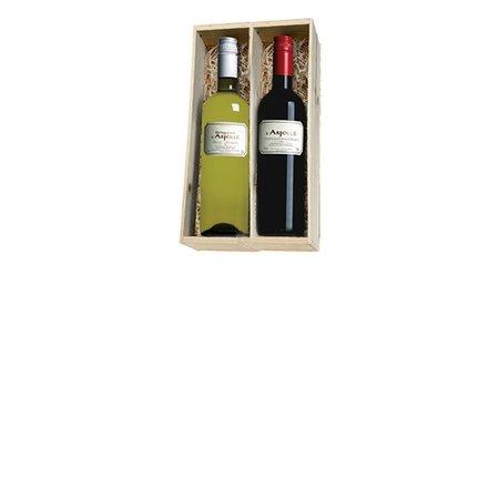 Domaine de l'Arjolle rood en wit 2 flessen in houten kist