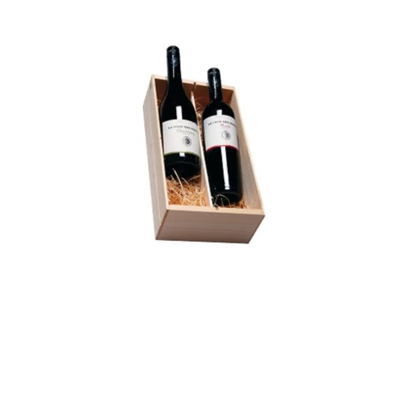 La Cour des Dames Merlot en Chardonnay 2 flessen in houten kist