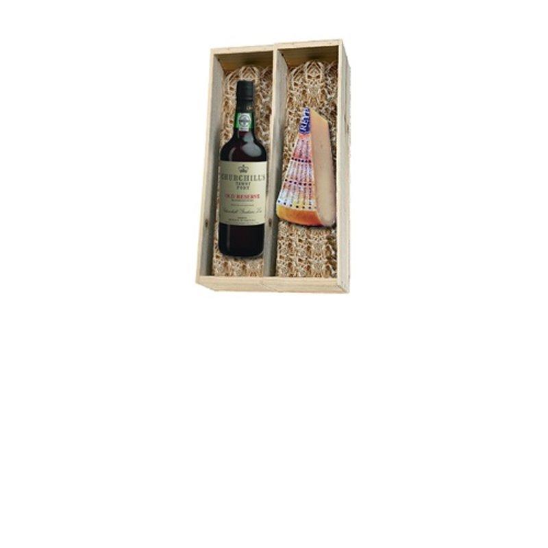 Churchill's Reserve Tawny port en Reypenaar kaas in houten kist