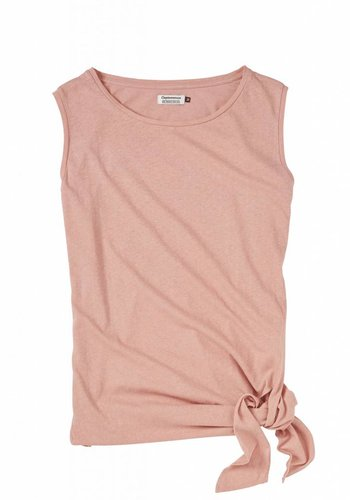 Cleptomanicx I Knotted Tank Top I Coral