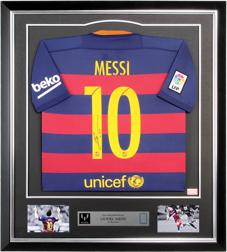 Lionel Messi autographed FC Barcelona jersey in deluxe frame - The ...