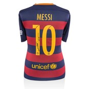 Lionel Messi Autographed Barcelona Home 2015-16 Jersey