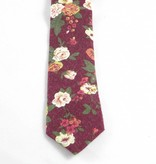 Toffster Cotton tie bordeaux with flowers