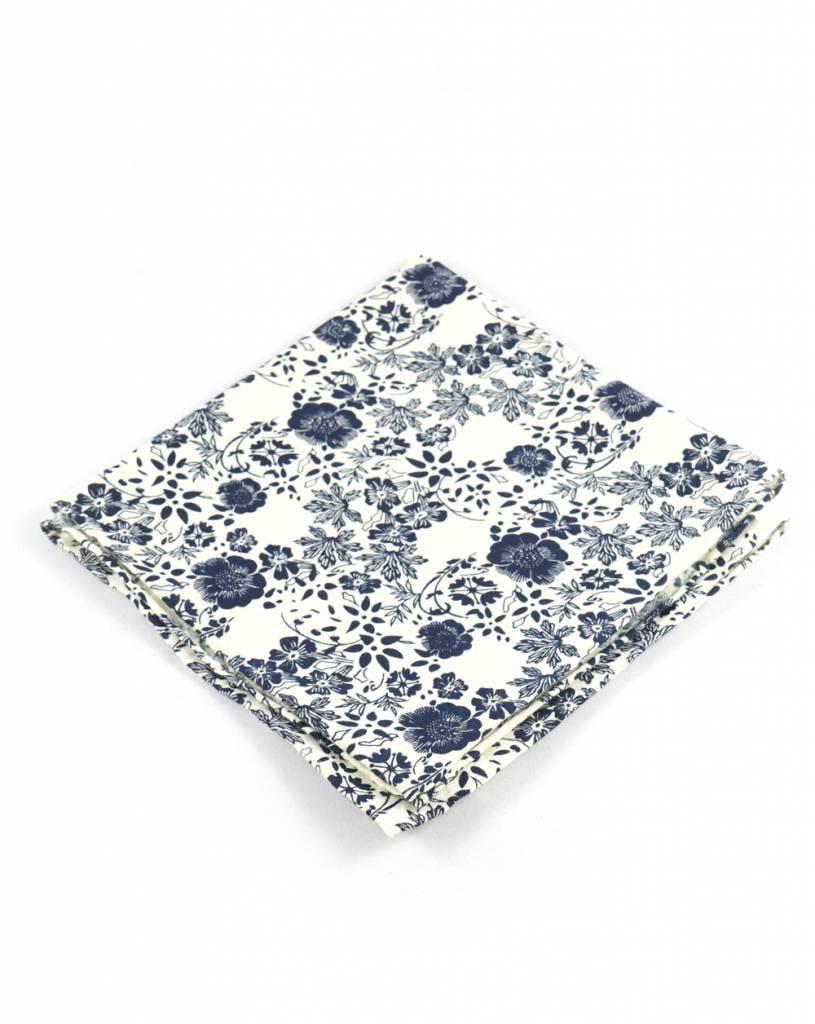 Toffster Einstecktuch | Baumwolle | Weiß-Blau | Floral