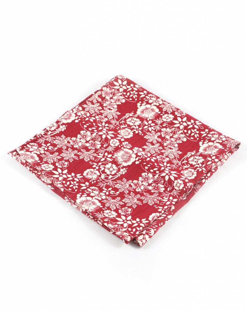 Toffster Einstecktuch | Baumwolle | Rot-Weiß | Floral