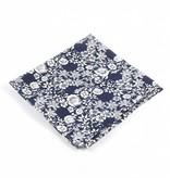 Toffster Einstecktuch | Baumwolle | Blau-Weiß | Floral
