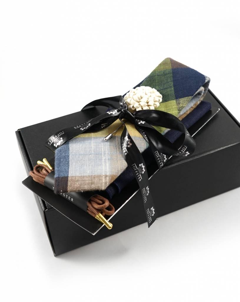 Toffster Dapper Set #1: Krawatte | Einstecktuch | Boutonniere | Schnürsenkel
